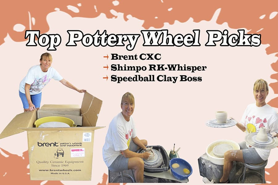 a picture of a woman using three different pottery wheels