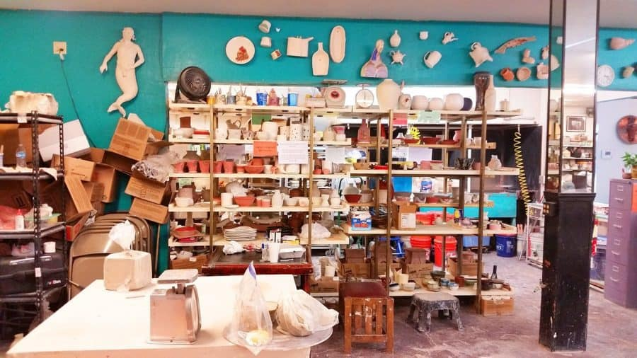 a picture of a pottery class interior