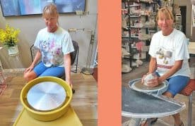A picture of Marie sitting at an electric pottery wheel and a kick wheel