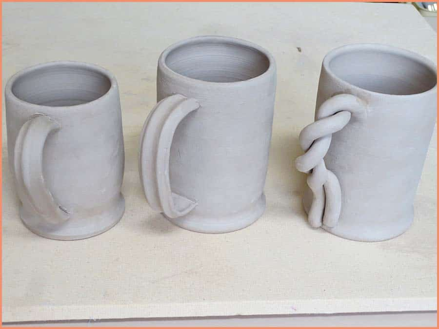 a picture of bone dry handles on mugs