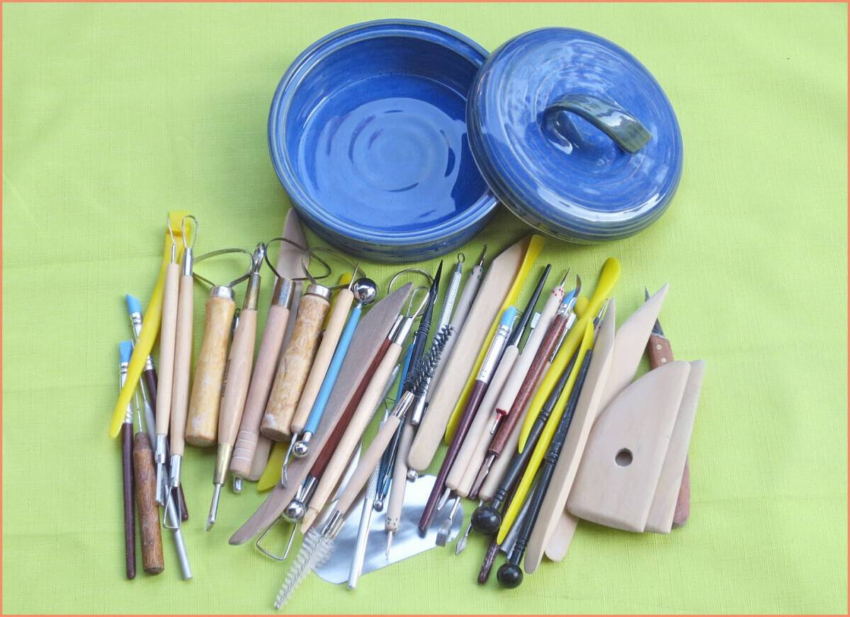 a picture of a dich and pottery tool sets