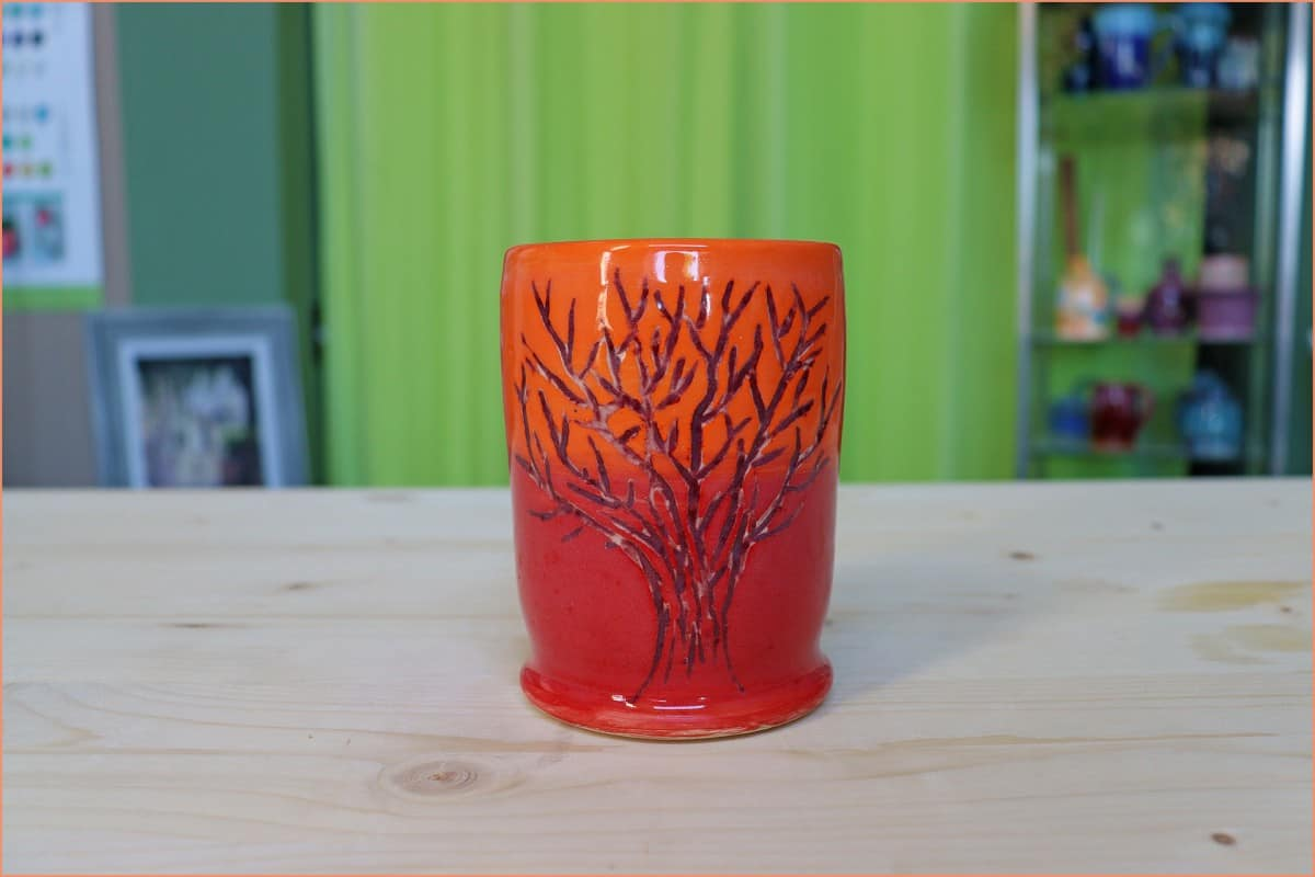 a picture of wax resisit decorated mug
