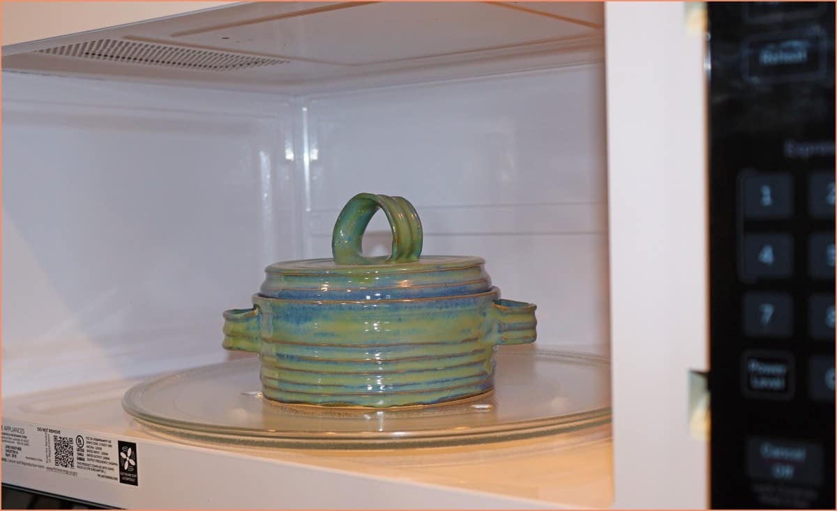 a picture of a cassarole dish in microwave