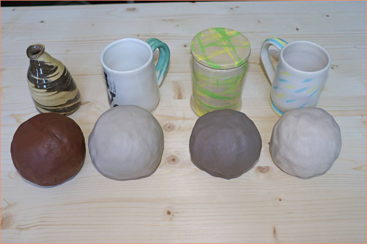a picture of four types of clay