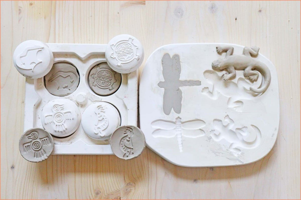 a picture of clay in molds