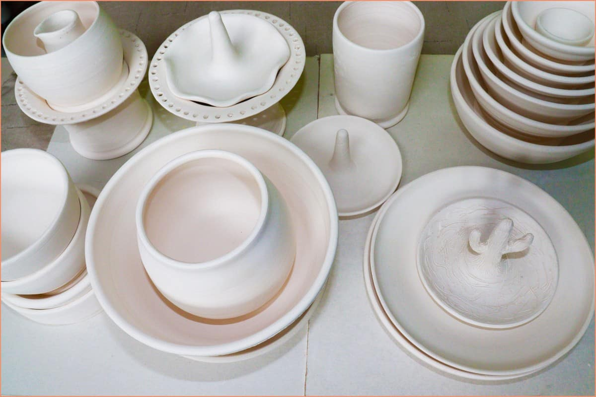 a picture of bisqueware on a wareboard