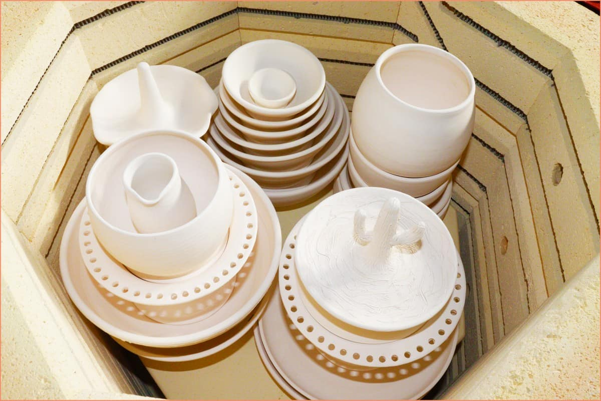 a picture of bisquware in kiln