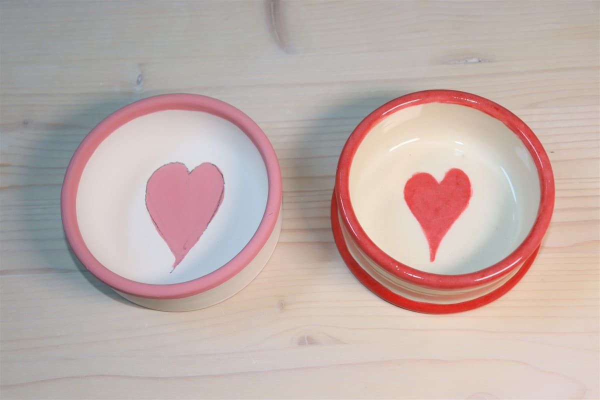 Picture underglaze fired and unfired 2 pet heart cat bowls